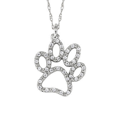 April birthstone, dog diamond pendant, diamond  paw pendant, dog diamond necklace, diamond paw necklace