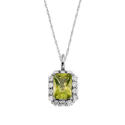 halo peridot and diamond pendant