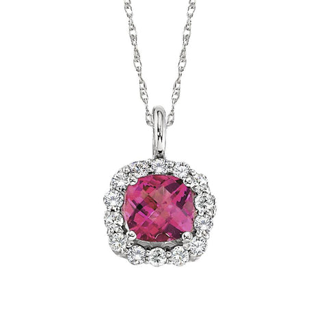 pink tourmaline and diamond necklace, october birthstone necklace