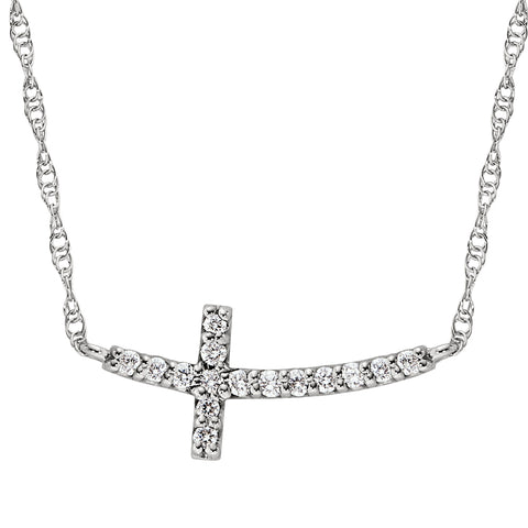 diamond cross necklace, white gold diamond cross necklace, sideways cross necklace