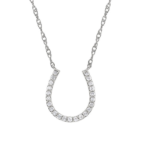 Horseshoe Diamond Pendant in 14K White Gold