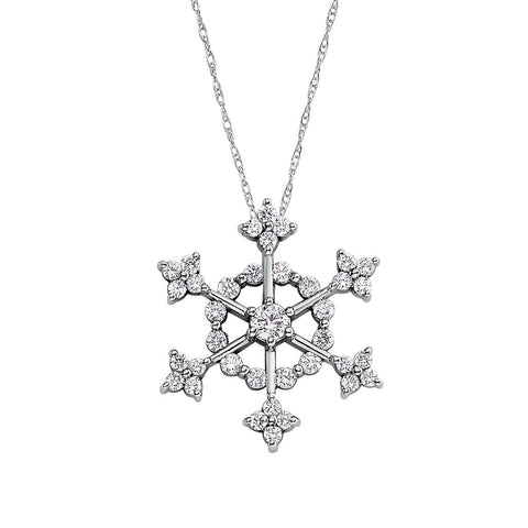 Snowflake Pendant with a Half Carat of Diamonds in 14K White Gold