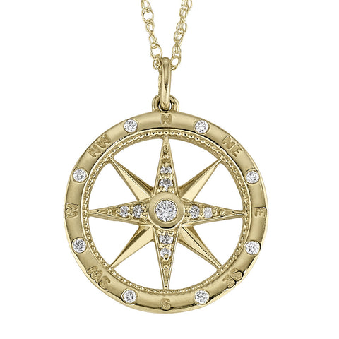 Windrose Compass Diamond Necklace in 14KT Gold