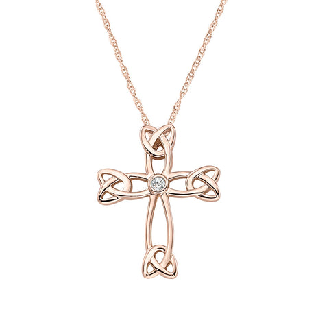 Bezel Set Diamond Celtic Cross in 14K Yellow Gold
