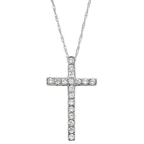 diamond cross necklace, white gold diamond cross necklace