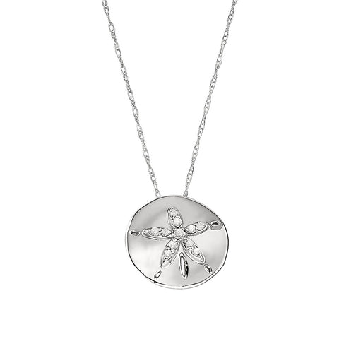 Sand Dollar Diamond Necklace in 14K White Gold