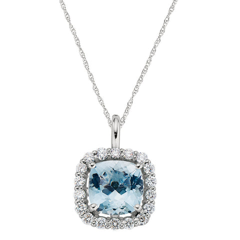 March Birthstone, Aquamarine Halo Necklace