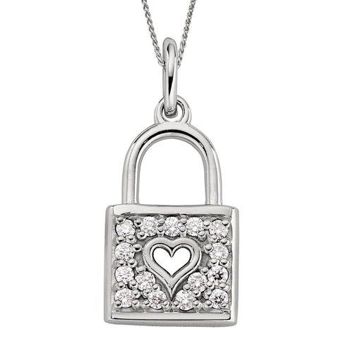 April Birthstone, diamond birthstone jewelry, Diamond Heart Lock Pendant