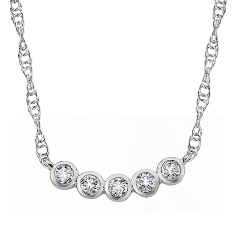 April Birthstone, diamond birthstone, Five Stone Necklace