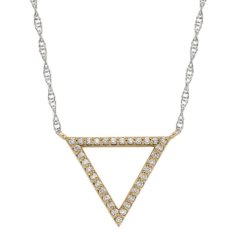 Triangle Bead Set Diamond Necklace in 14K white and yellow gold