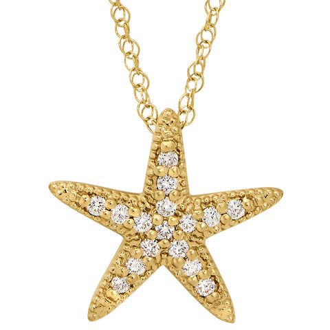 Starfish Diamond Necklace in 14K Yellow Gold