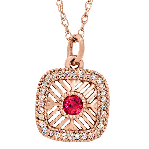 Vintage Style Pink Tourmaline and Diamond Pendant in Rose Gold