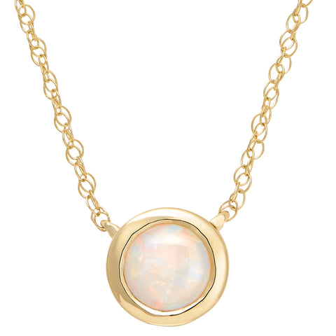 bezel opal necklace round
