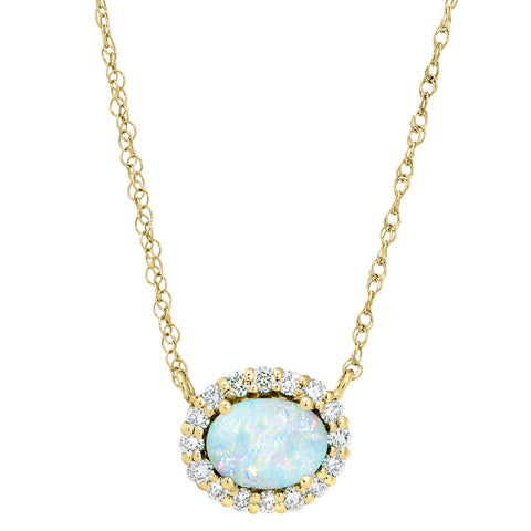 Opal halo side ways necklace, Opal halo necklace east west