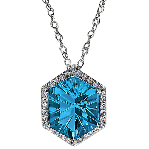 Halo Concave Hexagon Swiss Blue Topaz and Diamond Necklace Worn Two Ways