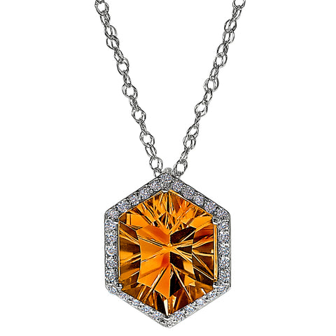 Hexagon Citrine Halo Necklace, November birthstone bridal jewelry, citrine and diamond necklace for the red carpet