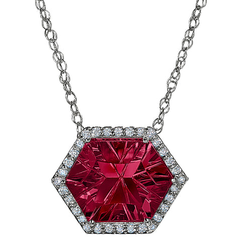 Hexagon rhodolite Halo Necklace, rhodolite and diamond necklace for the red carpet