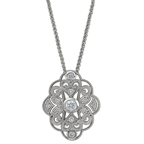 Intricate Diamond Mandala Pendant with Flower details