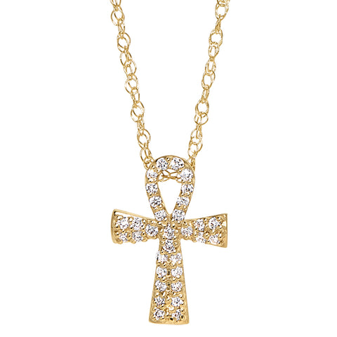 gold and diamond ankh, diamond Egyptian symbolic jewelry