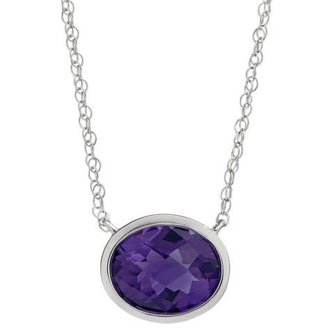 East West oval bezel amethyst necklace
