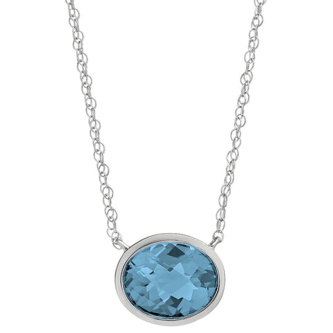 blue topaz side ways necklaces, blue topaz east west necklace
