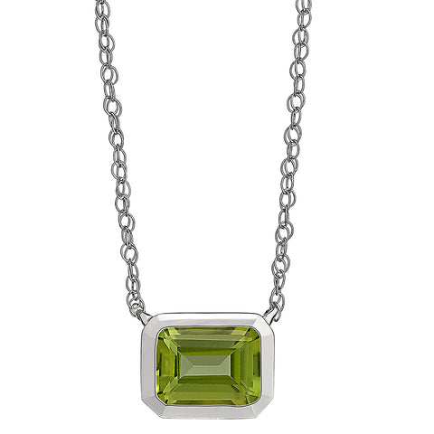 East West Emerald Cut Necklace for gemstones