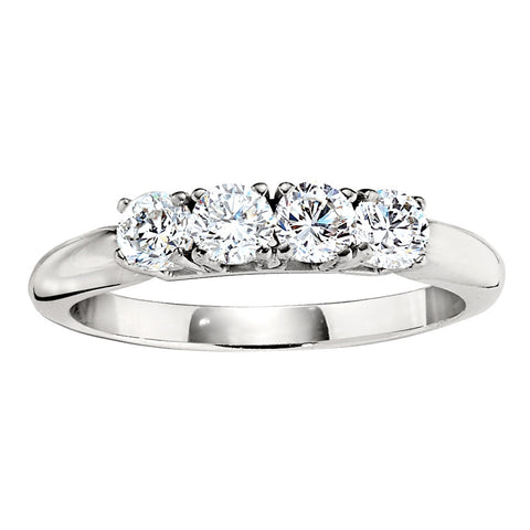 four stone diamond bands, traditional diamond wedding bands, die struck wedding bands, Jabel wedding bands