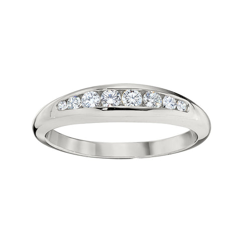 Tapered Channel Set Diamond Wedding Band in 18K White Gold