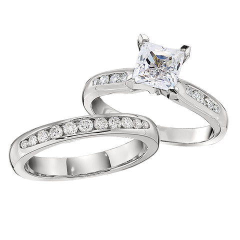 princess cut engagement rings, channel set engagement rings, matching wedding bands