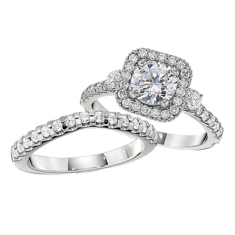 Halo engagement rings, three stone halo engagement rings, matching wedding bands