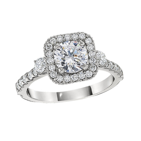 Halo Engagement Rings, three stone halo engagement rings, luxury halo engagement rings