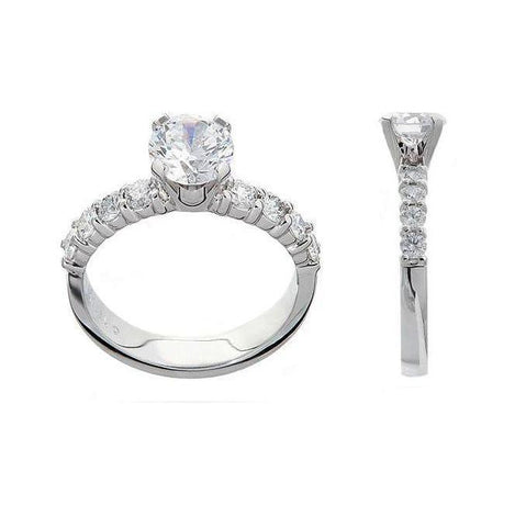classic diamond engagement ring, diamond sided engagement ring, 18KT engagement rings, engagement ring settings