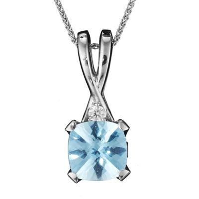 March Birthstone, Aquamarine Drop Necklace