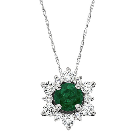 Emerald and Diamond Pendant, May birthstone jewelry, Emerald birthstone, emerald halo pendant