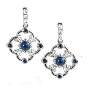 September birthstone jewelry, sapphire jewelry, diamond and sapphire earrings, sapphire and diamond earrings, made in USA jewelry, sapphire and diamond drop earrings
