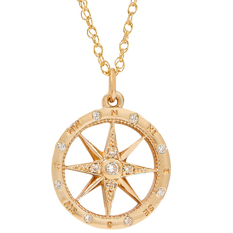 Smaller Windrose Diamond Compass Pendant in 14KT