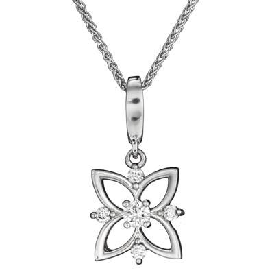 April birthstone, diamond flower pendant, diamond flower necklace, unique diamond pendant