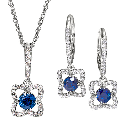 sapphire and diamond flower matching pendant and earrings