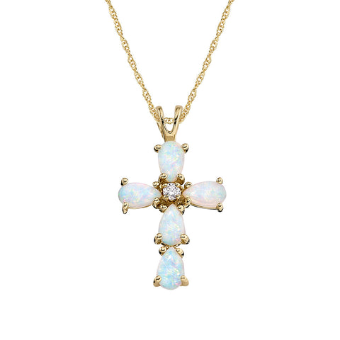 Cross Jewelry, Opal Cross, Gemstone Cross, Pearshape Cross