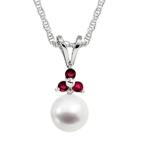 Ruby and Cultured Pearl Pendant in 14K