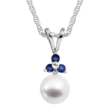 Sapphire and Pearl Necklace in 14K