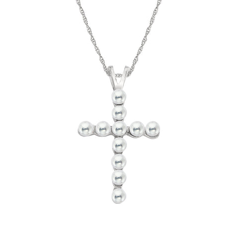 Pearl Cross in 14K White Gold