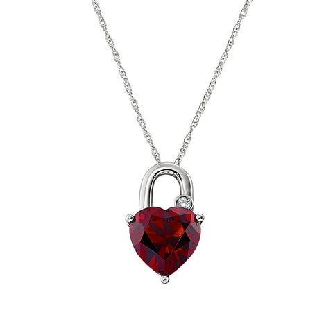 Garnet padlock heart pendant, January birthstone heart necklace, Garnet heart birthstone necklace, valentine necklaces in garnet