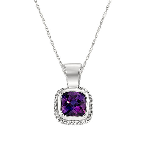 Rope Edge Bezel Set Amethyst Pendant in 14K White Gold