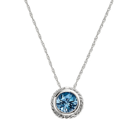 Blue Topaz Bezel Set Necklace with Rope Edge Detail