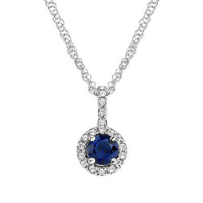 September birthstone, Sapphire Pendant, Sapphire Necklace, flower pendant, flower necklace, diamond and sapphire jewelry