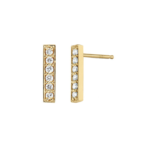 14KT diamond bar earrings