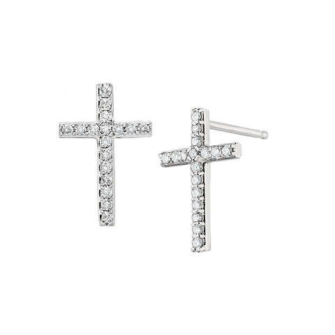 Cross Jewelry, Easter Jewelry, First Communion Jewelry, Diamond Cross Jewelry, Diamond Cross Earrings