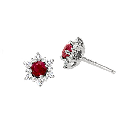 Ruby and Diamond Snowflake Earrings