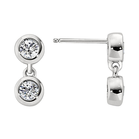 Bezel Set Drop Double Diamond Earrings